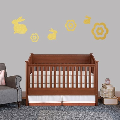 SweetumsWallDecals 6 Piece Bunnie and Flower Wall Decal Set; Gold