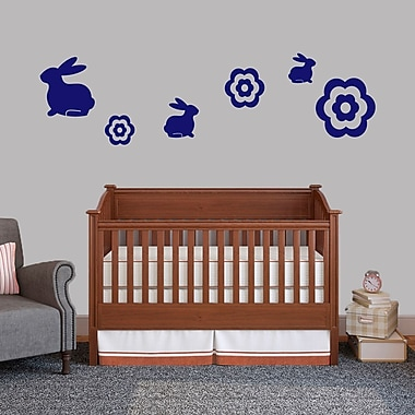 SweetumsWallDecals 6 Piece Bunnie and Flower Wall Decal Set; Navy