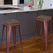 AdecoTrading 30.5'' Bar Stool (Set of 2); Red