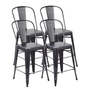 United Chair Industries LLC Counter Height Side Chair (Set of 4); Antique Black Silver