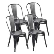 United Chair Industries LLC Metal Stackable Side Chair (Set of 4); Antique Black Silver