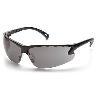 Pyramex Venture 3 Safety Eyewear Glasses, Grey Lens, Black Frame, 12/Pack
