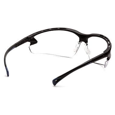 Pyramex Venture 3 Safety Eyewear Glasses, Clear H2X Anti-Fog Lens, Black Frame, 12/Pack