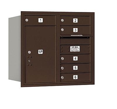 Salsbury Industries 6 Door Rear Load 4C Horizontal Mail Center w/ 1 Parcel Locker; Bronze