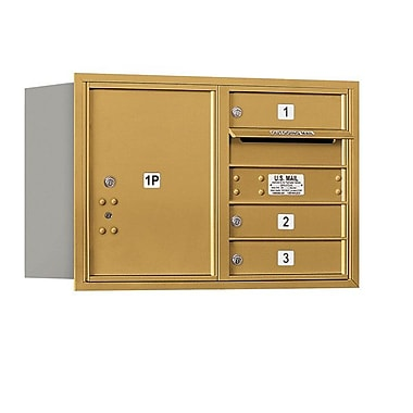 Salsbury Industries 3 Door Rear Load 4C Horizontal Mail Center w/ 1 Parcel Locker; Gold