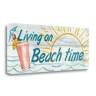 Tangletown Fine Art 'Living on Beach Time' Textual Art on Wrapped Canvas; 13'' H x 32'' W
