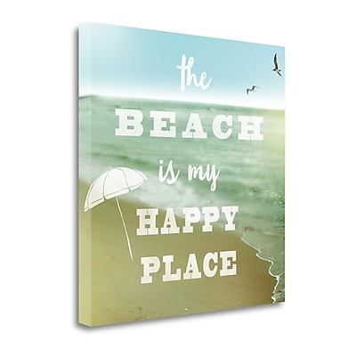 Tangletown Fine Art 'Happy Beach' Textual Art on Canvas; 20'' H x 20'' W