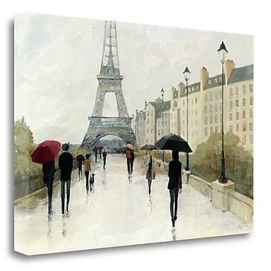 Tangletown Fine Art 'Eiffel in the Rain Marsala Umbrella' Print on Wrapped Canvas; 32'' H x 48'' W