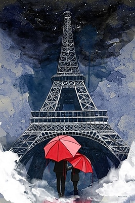 Latitude Run 'Rainy Night in Paris' Graphic Art on Wrapped Canvas; 24'' H x 18'' W