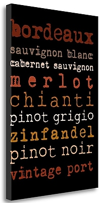 Tangletown Fine Art 'Wines' Textual Art on Wrapped Canvas; 29'' H x 20'' W