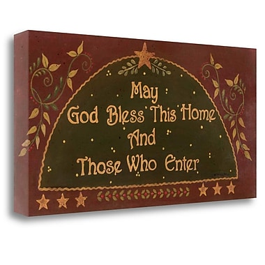 Tangletown Fine Art 'May God Bless This Home' Textual Art on Canvas; 20'' H x 39'' W