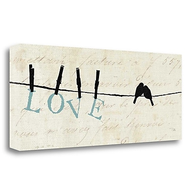 Tangletown Fine Art 'Birds on a Wire Love' Graphic Art Print on Wrapped Canvas; 16'' H x 40'' W