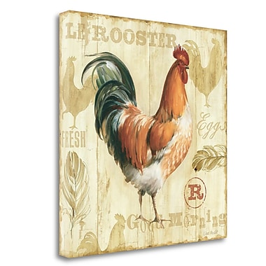 Tangletown Fine Art 'Joli Rooster IC' Graphic Art Print on Wrapped Canvas; 24'' H x 24'' W