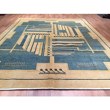 Rug Tycoon Hand-Knotted Beige/Blue Area Rug