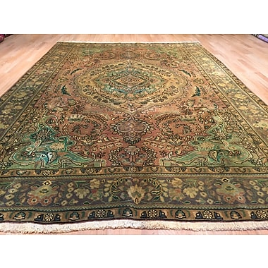 Rug Tycoon Tabriz Hand-Knotted Brown/Green Area Rug