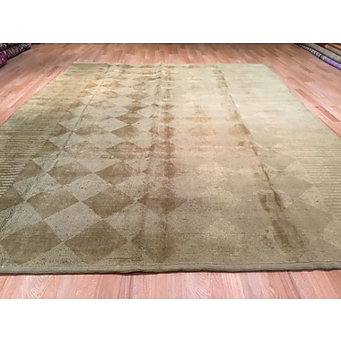 Rug Tycoon Gradient Solid Hand-Knotted Beige/Brown Area Rug
