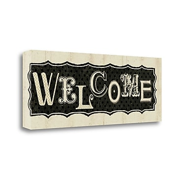 Tangletown Fine Art 'Room Signs IV - Welcome' Textual Art on Canvas; 13'' H x 32'' W