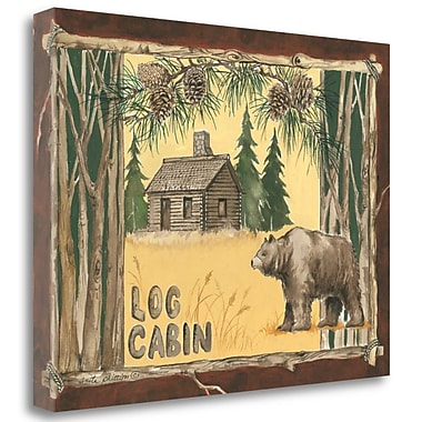 Tangletown Fine Art 'Log Cabin Bear' Graphic Art Print on Canvas; 20'' H x 26'' W