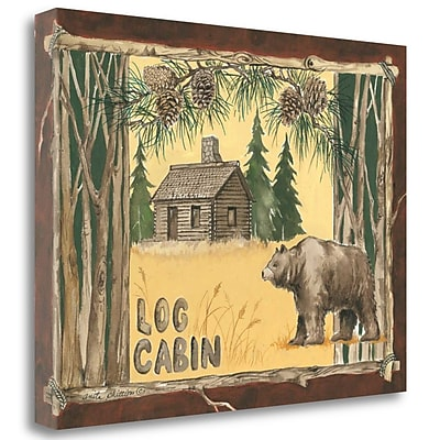 Tangletown Fine Art 'Log Cabin Bear' Graphic Art Print on Canvas; 24'' H x 32'' W