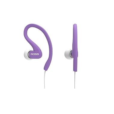 Koss – Écouteurs intra-auriculaires Fit Clip KSC32IV avec micro, résistants à la sueur, violet