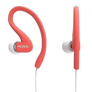 Koss KSC32IC Fit Clip Sweat Resistant Ultra Lightweight In-Ear Headphones with Mic, Coral