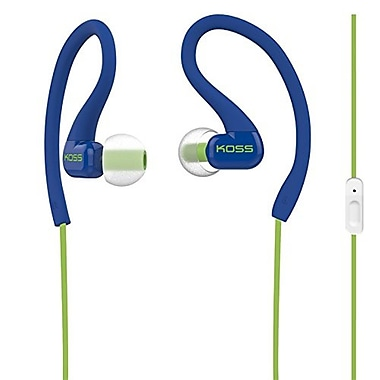 Koss KSC32IB Fit Clip Sweat Resistant Ultra Lightweight In-Ear Headphones with Mic, Blue