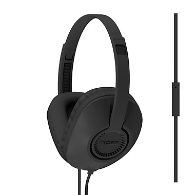 Koss UR23ID Full Size D Profile Lightweight On-Ear Headphones with Mic, Black
