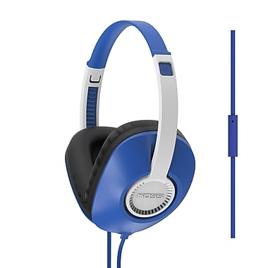 Koss UR23IB Full Size D Profile Lightweight On-Ear Headphones with Mic, Blue