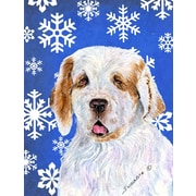 East Urban Home Winter Snowflakes Holiday House Vertical Flag; Clumber Spaniel