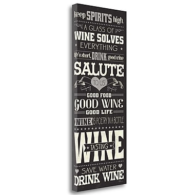 Tangletown Fine Art 'Wine Lovers II' Textual Art on Wrapped Canvas; 40'' H x 16'' W