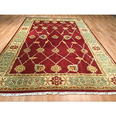 Rug Tycoon Hand-Knotted Red/Green Area Rug