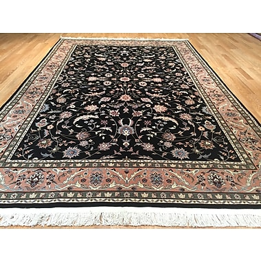 Rug Tycoon Imperial Kashan Hand-Knotted Black/Rose Area Rug