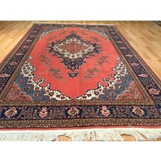 Rug Tycoon Tabriz Hand-Knotted Salmon/Navy Blue Area Rug
