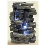 Alpine Fiberglass Slate Tabletop Fountain w/ LED Light