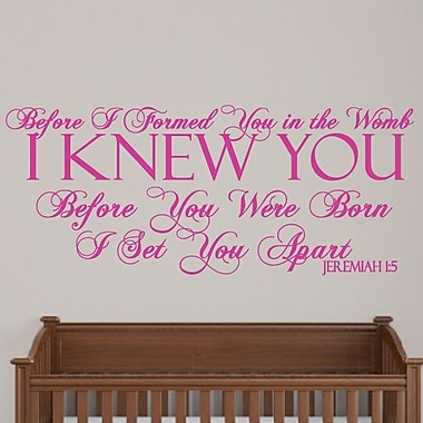 SweetumsWallDecals Before I Formed You Wall Decal; Hot Pink