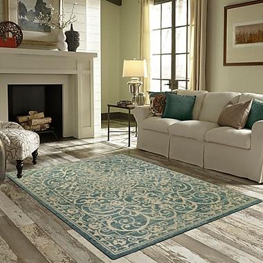 Charlton Home Landen Turquoise/Ivory Area Rug; 1'8'' x 2'10''