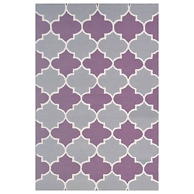 Eastern Weavers Wool Hand-Tufted Gray/Purple Area Rug; 5' x 8'