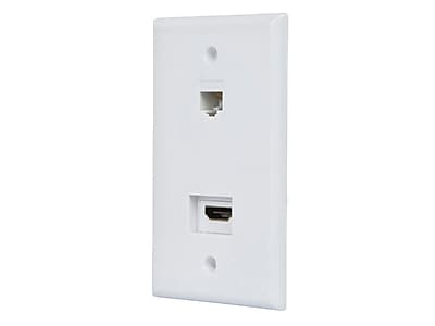 Recessed HDMI Wall Plate, with 1* HDMI F/F Adapter & 1*RJ45 Cat5e Coupler