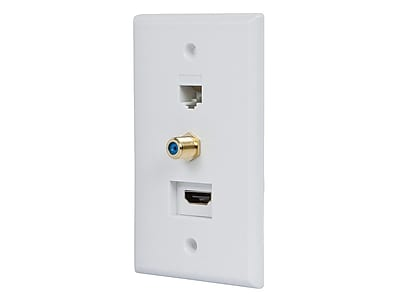 Recessed HDMI Wall Plate, with 1* HDMI F/F Adapter, 1*RJ45 Cat5e Coupler & 1* F Connector, Gold Plated