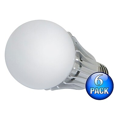 270 degrees 8-Watt (40W Equivalent) A 19 LED Bulb, 630 Lumens, Cool/ Daylight (6000K) - Non-Dimmable (6-Pack)