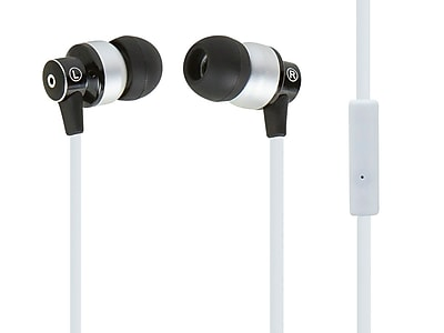 Hi-Fi Reflective Sound Technology Earphones w/ Microphone-White/Silver