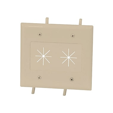 Cable Plate with Flexible Opening, 2-Gang, Ivory