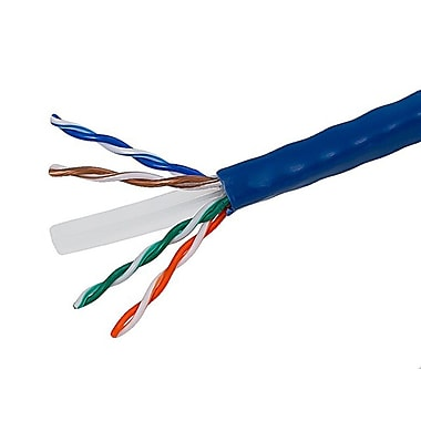 500FT Cat6 Bulk Bare Copper Ethernet Cable, UTP, Stranded, In-Wall Rated (CM), 550MHz, 24AWG - Blue