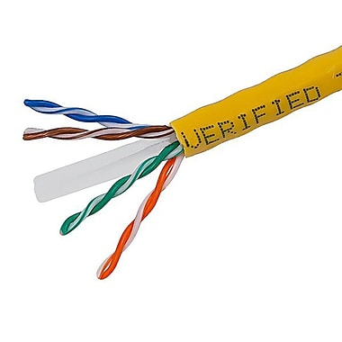 1000FT Cat6 Bulk Bare Cable Copper Ethernet Cable, UTP, Stranded, In-Wall Rated (CM), 550MHz, 24AWG - Yellow - GENERIC