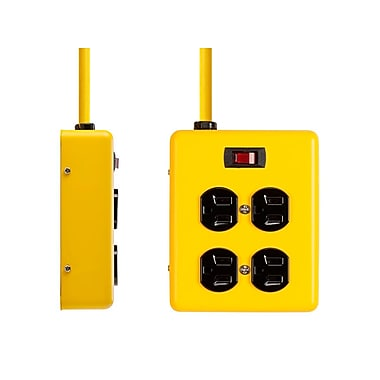 4 Outlet Power Box - 180 Joules - Metal w/ 6ft Cord (Yellow)