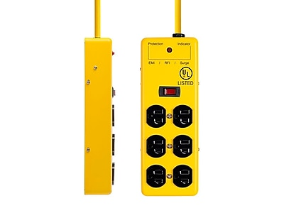 6 Outlet Power Box - 540 Joules - Metal w/ 6ft Cord (Yellow)
