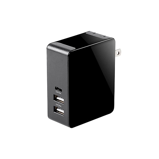 Obsidian Series 3 Port Usb Wall Charger With Usb C Staples