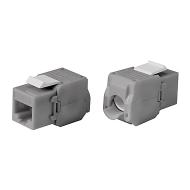 Cat6 RJ-45 Toolless 180-Degree Keystone, Gray