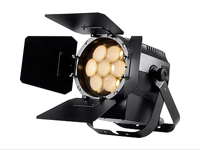 Stage Right 7x20W COB LED Theater PAR Light with Motorized Zoom and Barn-Doors (3200 degreesK, 28-70 degrees beam angle)