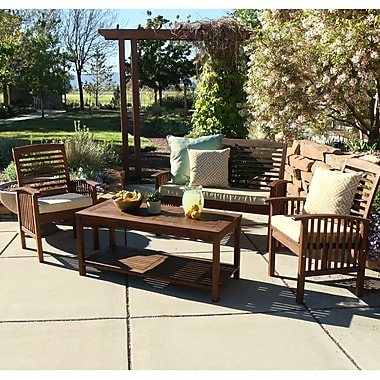 Home Loft Concepts 4 Piece Bench Seating Group w/ Cushions; Dark Brown